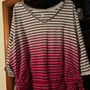 Ombré pink pullover with ruched sides